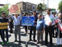 حضور ورزشكاران و اعضاي هيئت ورزش سه گانه آذربايجان غربي در راهپيمايي روز قدس